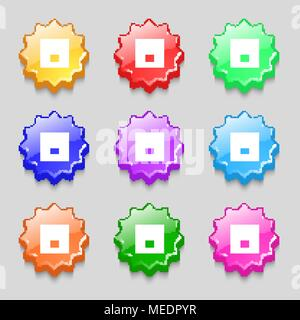Power switch icon sign. symbol on nine wavy colourful buttons. Vector illustration - Stock Photo