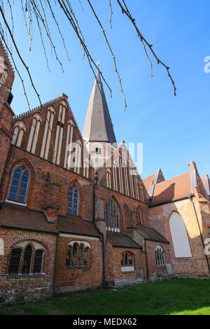 Salzwedel, Germany - April 21, 2018: View of St. Mary's Church in the Hanseatic city of Salzwedel, Germany. - Stock Photo