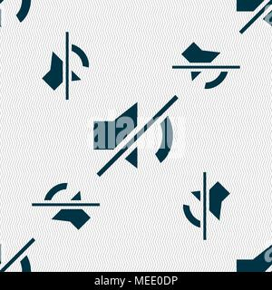 Mute speaker sign icon. Sound symbol.. Seamless pattern with geometric texture. Vector illustration - Stock Photo
