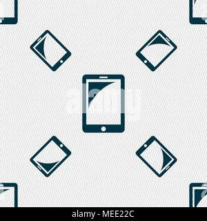 Tablet sign icon. smartphone button. Seamless pattern with geometric texture. Vector illustration - Stock Photo