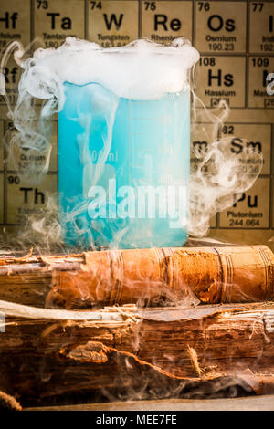 Chemical lab with color beakers in school - Stock Photo