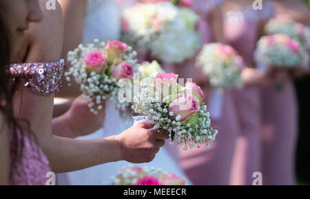 A bride and bridesmaids in pink dresses holding their bouquets. - Stock Photo
