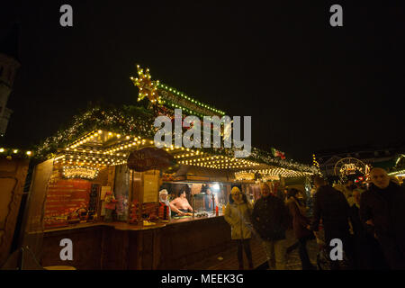 Traditional Christmas Market or Weihnachtsmarkt at Bonn, North Rhine Westphalia, Germany. - Stock Photo