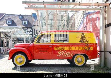 Salzwedel, Germany - April 21, 2018: View of the oldtimer of the famous tourist café in the Hanseatic city of Salzwedel. In the cafe tourists can see  - Stock Photo