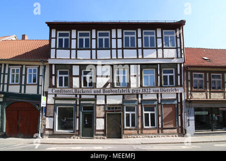 Salzwedel, Germany - April 21, 2018: View of the old candy factory of the Hanseatic city of Salzwedel. The half-timbered house is currently empty. - Stock Photo