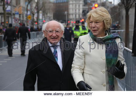 President Michael Higgins and his wife Sabina enjoy a walkabout in Dublin after the Easter ceremonies in O'Connell Street. Credit:reallifephotos/Alamy - Stock Photo