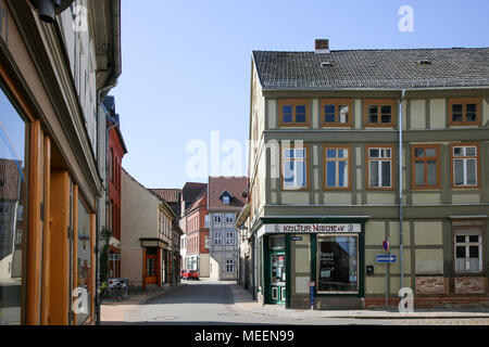 Salzwedel, Germany - April 21, 2018: View of half-timbered houses on Burgstrasse in the Hanseatic city of Salzwedel, Germany. - Stock Photo