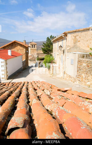 View from a rooftop. Garganta de los Montes, Madrid province, Spain. - Stock Photo