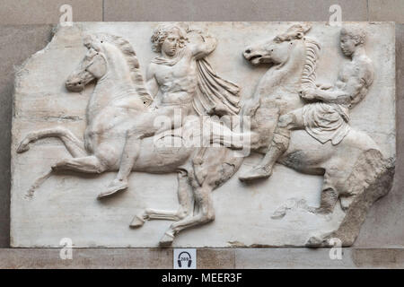 London. England. Parthenon Frieze (Elgin Marbles), two horsemen from the West Frieze, British Museum, from the Parthenon on the Acropolis in Athens, c - Stock Photo