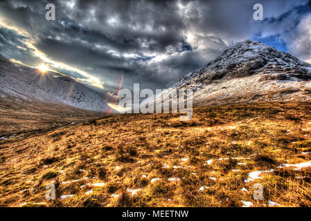 Area of Gen Coe, Scotland. Artistic winter view of Glencoe valley, with Stob nan Cabar on the right of the image. - Stock Photo