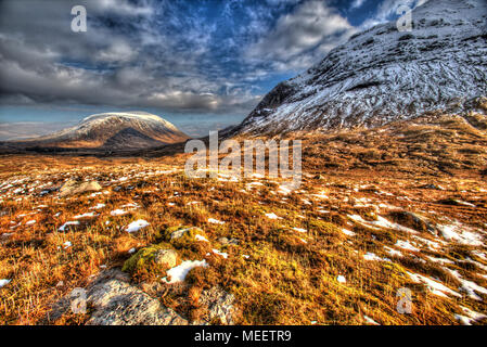 Area of Gen Coe, Scotland. Artistic winter view of Glencoe valley with Coire Na Tulaich on the right of the image. - Stock Photo