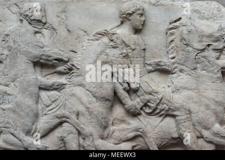 London. England. British Museum, Parthenon Frieze (Elgin Marbles), horsemen from the South Frieze, from the Parthenon on the Acropolis in Athens, ca.  - Stock Photo