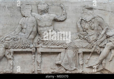 London. England. British Museum, Parthenon Frieze (Elgin Marbles), Olympian gods seated on stools, from the Parthenon on the Acropolis in Athens, ca.  - Stock Photo