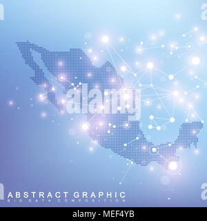Abstract map of Mexico global network connection. Vector background technology futuristic plexus - Stock Photo