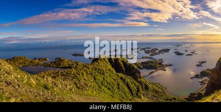 View from mount Festvagtinden above the village of Henningsvaer in Norway