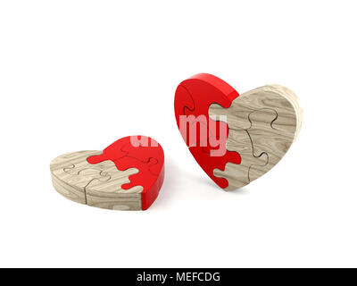 Heart jigsaw puzzle isolated - Stock Photo
