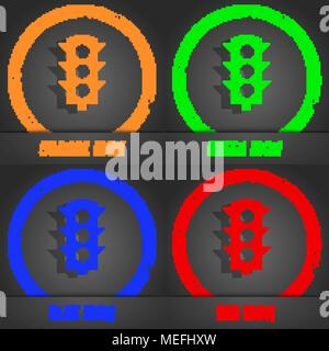 Traffic light signal icon. Fashionable modern style. In the orange, green, blue, red design. Vector illustration - Stock Photo