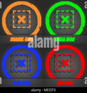 Cross in square icon. Fashionable modern style. In the orange, green, blue, red design. Vector illustration - Stock Photo