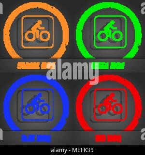 Cyclist icon. Fashionable modern style. In the orange, green, blue, red design. Vector illustration - Stock Photo