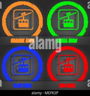 cable car line icon. Fashionable modern style. In the orange, green, blue, red design. Vector illustration - Stock Photo