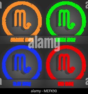 Scorpio icon. Fashionable modern style. In the orange, green, blue, red design. Vector illustration - Stock Photo