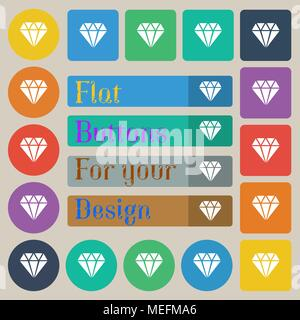 diamond icon sign. Set of twenty colored flat, round, square and rectangular buttons. Vector illustration - Stock Photo