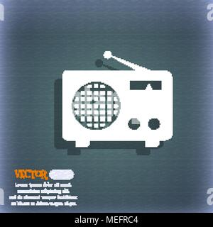 Retro radio icon. On the blue-green abstract background with shadow and space for your text. Vector illustration - Stock Photo