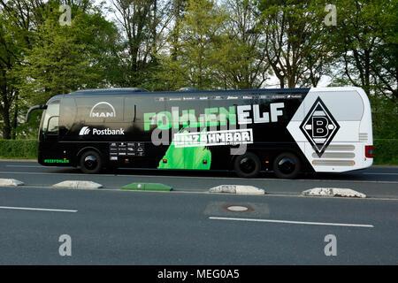 sports,football,Bundesliga,2017/2018,Borussia Moenchengladbach vs VfL Wolfsburg 3:0,Stadium Borussia Park,team bus of Gladbach - Stock Photo