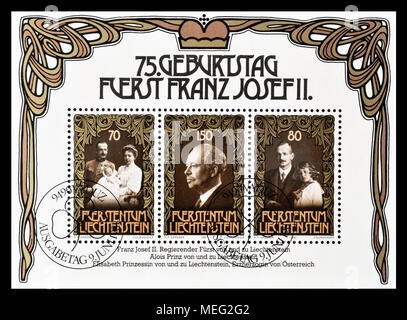 Cancelled block with postage stamps printed by Liechtenstein, that shows portraits of Royalty, circa 1981. - Stock Photo