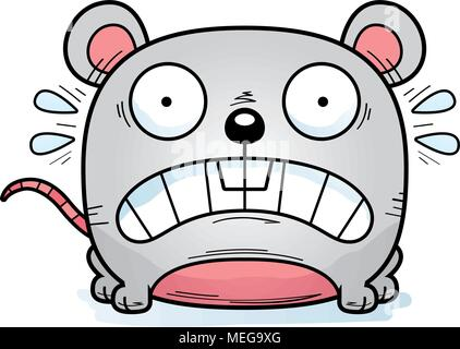A cartoon illustration of a mouse looking terrified. - Stock Photo