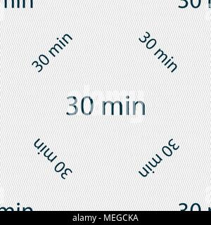 30 minutes sign icon. Seamless pattern with geometric texture. Vector illustration - Stock Photo