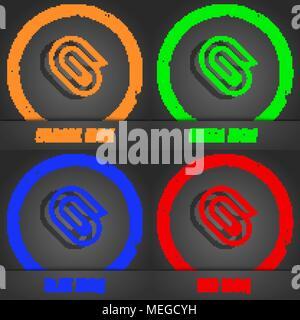 paper clip icon symbol. Fashionable modern style. In the orange, green, blue, green design. Vector illustration - Stock Photo