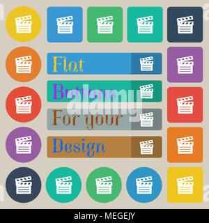 Cinema Clapper icon sign. Set of twenty colored flat, round, square and rectangular buttons. Vector illustration - Stock Photo