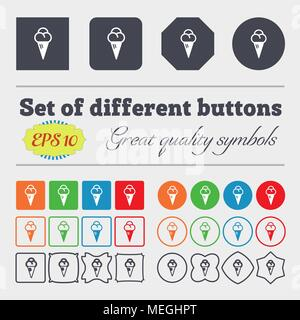 ice cream icon sign. Big set of colorful, diverse, high-quality buttons. Vector illustration - Stock Photo