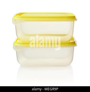 Plastic food containers isolated on white background - Stock Photo