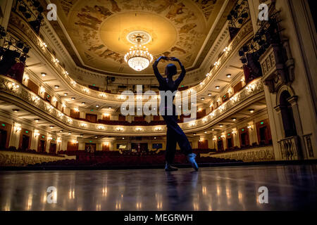 The ballerina rehearses on a stage of the Perm Academic Opera and Ballet Theater in Perm,city Russia - Stock Photo