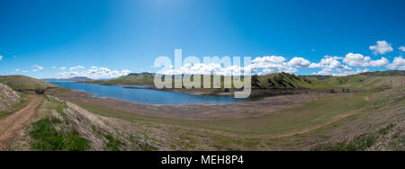 Large Panorama Of San Luis Reservoir From Hiking Trails - Stock Photo