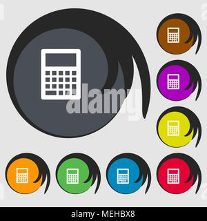 Calculator icon. Symbols on eight colored buttons. Vector illustration - Stock Photo