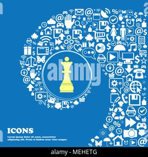 Chess Queen symbols. Nice set of beautiful icons twisted spiral into the center of one large icon. Vector illustration - Stock Photo
