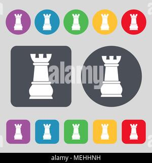 Chess Rook icon sign. A set of 12 colored buttons. Flat design. Vector illustration - Stock Photo