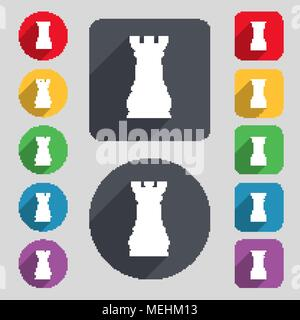 Chess Rook icon sign. A set of 12 colored buttons and a long shadow. Flat design. Vector illustration - Stock Photo