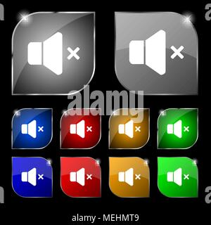 No Volume icon sign. Set of ten colorful buttons with glare. Vector illustration - Stock Photo