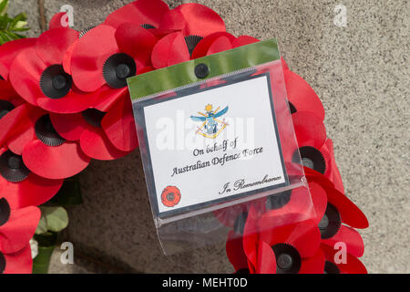 Wreaths that have been laid in Soldier's Corner to commemorate the anniversary of ANZAC day - Warrington, UK, 22 April 2018. The Anniversary of ANZAC Day has been commemorated on Sunday 22 April 2018 within Soldiers' Corner of Warrington Cemetery when the Deputy Mayor, Cllr Karen Mundry, Cadets from the Queen's Lancashire Regiment, Warrington Sea Cadets and many veterans were in attendance Credit: John Hopkins/Alamy Live News - Stock Photo