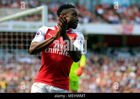 London, UK, 22 April 2018. Danny Welbeck of Arsenal in action. Premier League match, Arsenal v West Ham United at the Emirates Stadium in London on Sunday 22nd April 2018.  this image may only be used for Editorial purposes. Editorial use only, license required for commercial use. No use in betting, games or a single club/league/player publications . pic by Steffan Bowen/Andrew Orchard sports photography/Alamy Live news - Stock Photo