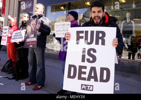 Montreal,Canada,April 22,2018.Animal rights activists protesting against the Canada Goose company for using fur and goose down in their winter jackets.Credit:Mario Beauregard/Alamy Live News - Stock Photo