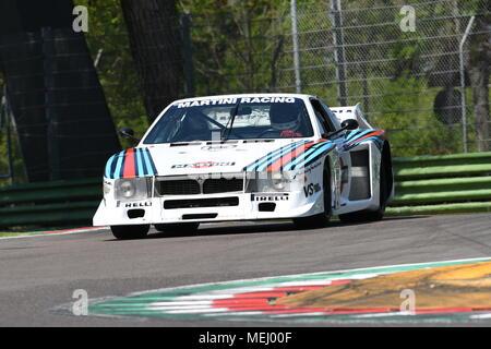 Imola Circuit, Italy. 21 April 2018: Emanuele Pirro drive Lancia Martini Beta Montecarlo during Motor Legend Festival 2018 at Imola Circuit in Italy. Credit: dan74/Alamy Live News