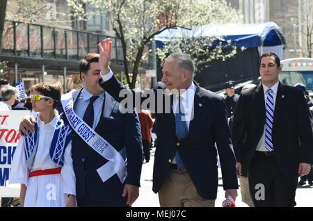 Manhattan, New York, USA. 22nd Apr, 2018. Senator chuck schumer attends Greek Independence Parade on 5th Avenue in New York City. Credit: Ryan Rahman/Alamy Live News - Stock Photo