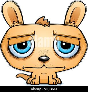 A cartoon illustration of a little kangaroo looking sad. - Stock Photo