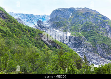 glacier Supphellebreen, part of Jostedalsbreen National Park, Norway, near Fjaerland, impressive Norwegian mountain landscape - Stock Photo