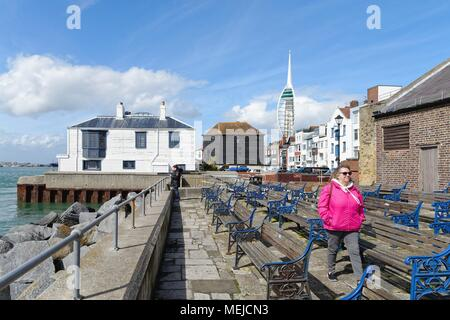 Waterfront in the old historic harbour of Portsmouth Hampshire England UK - Stock Photo